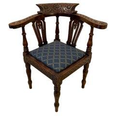 Superb Quality Antique George III Carved Oak Corner Chair
