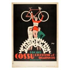 Original Vintage Poster Sardegna Quartucciu Cagliari Sardinia Racing Bicycles Ad