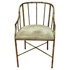 Gilt Bamboo and Suede Occasional Chair from Spain