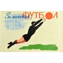 Original Vintage Poster Grassroots Football Goalkeeper USSR Soviet Sport Futbol