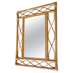 Rectangular Rattan and Bamboo Mirror, France, 1960s