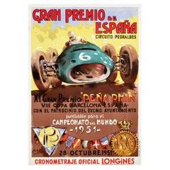 Original Vintage Poster Gran Premio De Espana Spain Grand Prix Formula One Race