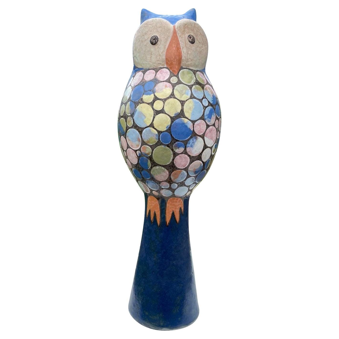 Tall Blue Owl Master Artisan Eva Fritz-Lindner