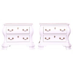 Century Furniture White Lacquered Bombe Form Bedside Chests, Newly Refinished