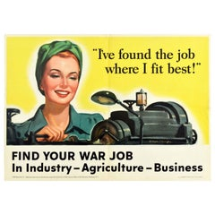 Original Vintage Poster Find Your War Job Industry Agriculture WWII Home Front