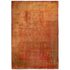 Rug & Kilim's Classic Agra Style Rug in Red, Orange Geometric Pattern