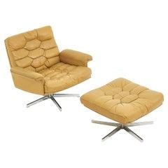 De Sede DS 35 Swivel Chair and Ottoman, Robert Haussmann Switzerland, 1970