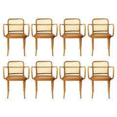 Set of 8 Vintage Bentwood Dining 811 Prague Chairs by Josef Hoffmann for Stendig