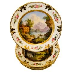 Set of Old Paris Porcelain Plates Each Painted with Different Decorative Scenes