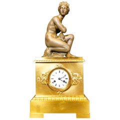 Louis Philippe Gilt and Patinated Bronze Figural Mantel Clock 19th Century