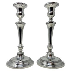 Pair Estate American Sterling Silver Tall Candle Sticks, Circa 1950