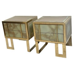 Late 20th Century Pair of Green Murano Glass, Brass & Wood Bedside Tables