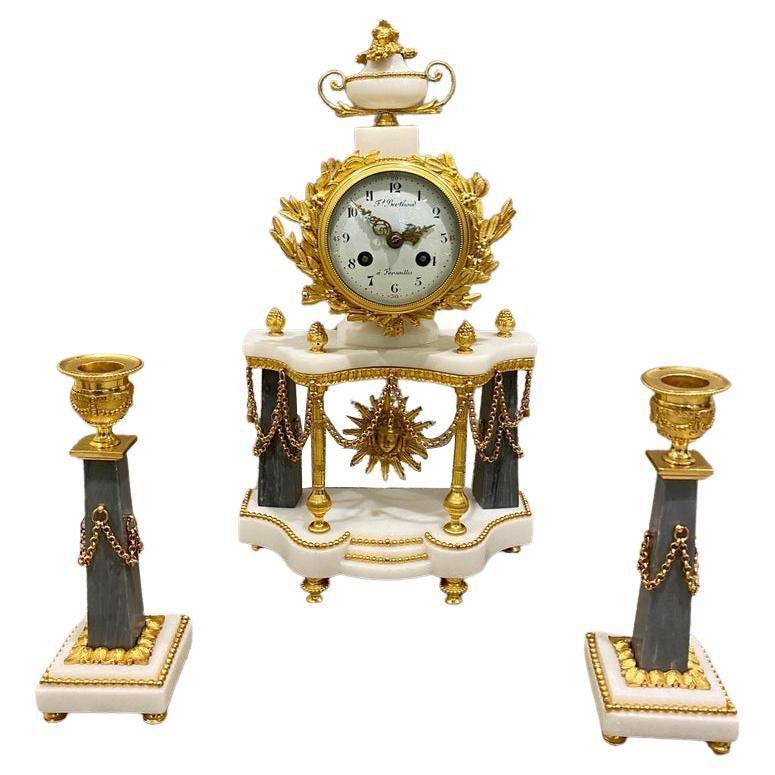 Ferdinand Berthoud. Louis XVI Ormolu Mounted Marble 3 Piece Clock Set 1770