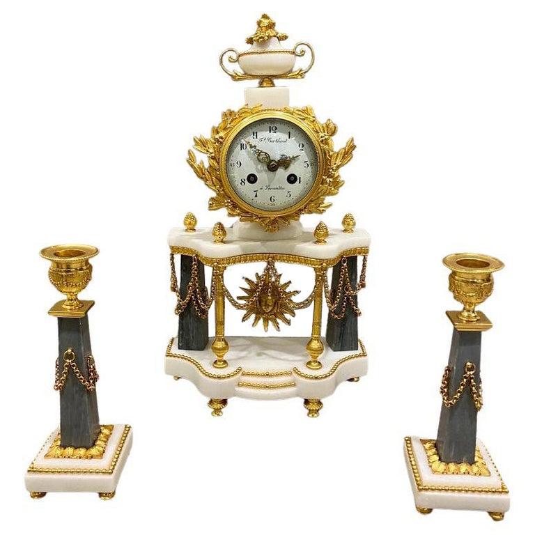 Ferdinand Berthoud. Louis XVI Ormolu Mounted Marble 3 Piece Clock Set 1770 For Sale