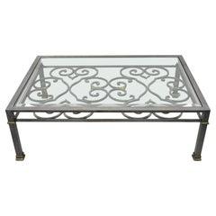 Vintage Italian Regency Style Large Brushed Steel & Glass Scrolling Coffee Table
