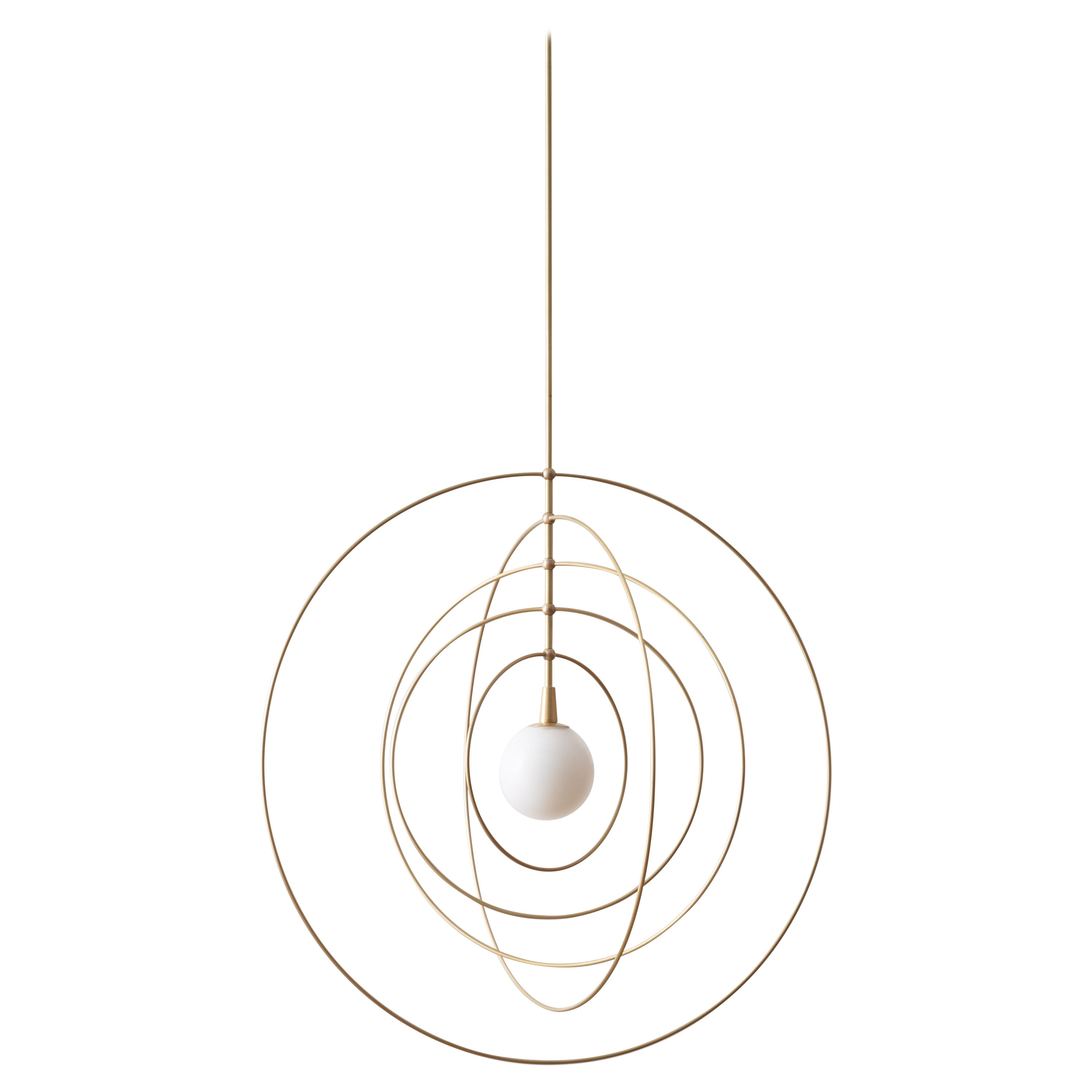 Circle Mobile Pendant LED Kinetic Sculpture with Blown Glass and Brass Rings