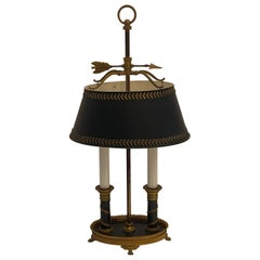 Wonderful French Empire Bronze Neoclassical Bouillotte Two-Light Lamp Tole Shade
