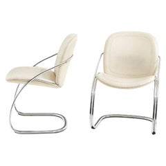 Italian Leather and Chrome Pair Side Chairs, Gastone Rinaldi RIMA, 1970