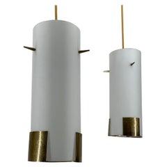 Pair Kalmar Pendant Lights, Opal Glass Brass Details, Austria, 1950s
