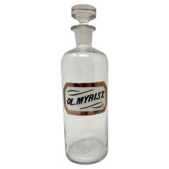Antique Glass Apothecary Bottle with Hand-Painted & Gilded Label, Circa 1900