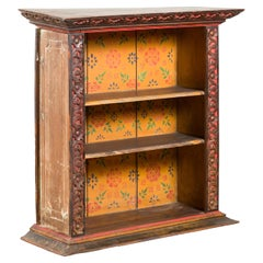 Antique Indian 19th Century Wall Display Cabinet with Carved Floral Motifs