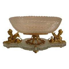 Wonderful French Empire Ormolu Bronze Sphinx Oval Cut Crystal Centerpiece Bowl