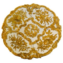 Meissen Charger With Raised Gilded Flowers & Leaves and Elaborate Gilded Accents