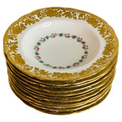 Set of Eleven Hammersley & Co. Wide Rim Soups with Raised Gilded Flowers on Rim