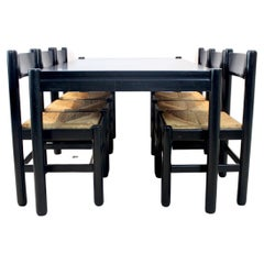 Exclusive Vico Magistretti Style Dining Table with Six Dining Chairs