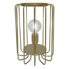 Cosulich Interiors Minimalist Italian Futurist Gold Brass Steel Open Table Lamp