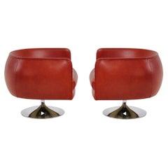 Joseph D'Urso Pair Leather Swivel Lounge Chairs, Knoll, 1980