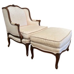 Mid-Century French Louis XV Carved Walnut Armchair with Matching Ottoman