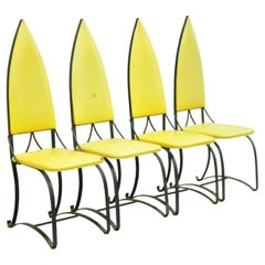 Vintage Mid Century Italian Wrought Iron Pyramid Back Dining Chairs, Set of 4
