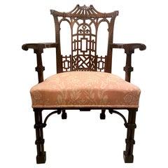 Antique English Chippendale Mahogany Fretwork Armchair, Circa 1850-1870