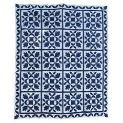 19thc Oak Leaf & Reel Dated 1848 Blue & White Quilt