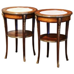 Pair of 19th Century French Empire Carved Walnut Side Tables with Marble Top