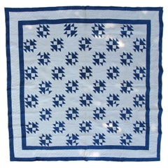 19Thc Teal Calico & White Shoe Fly Quilt