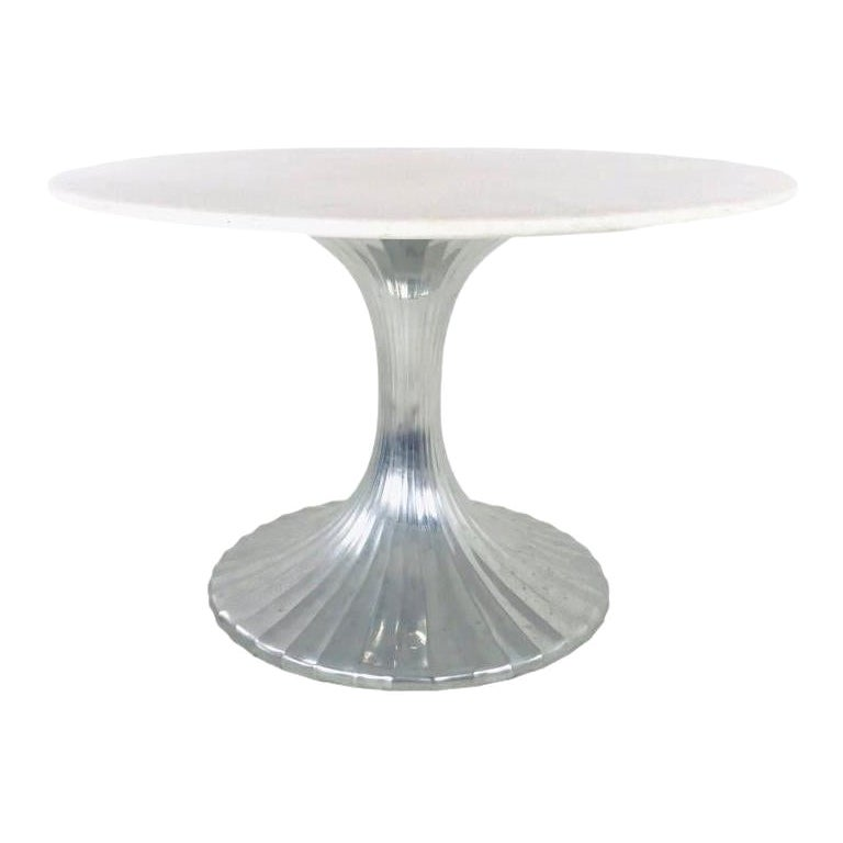 Lotus Base Dining Table with Quartz Top