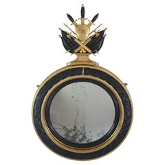 Neoclassical Regency Giltwood and Ebonized Convex Mirror, Signed and Dated 1813