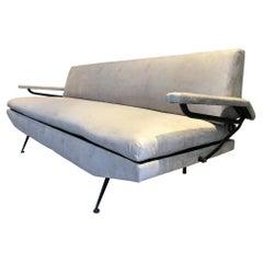 1950s Slick Italian Sofa Daybed Style of Osvaldo Borsani + Crisp New Upholstery