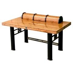 Vintage Italian Postmodern Elle Due Arredamenti Burl Wood Roll Top Desk