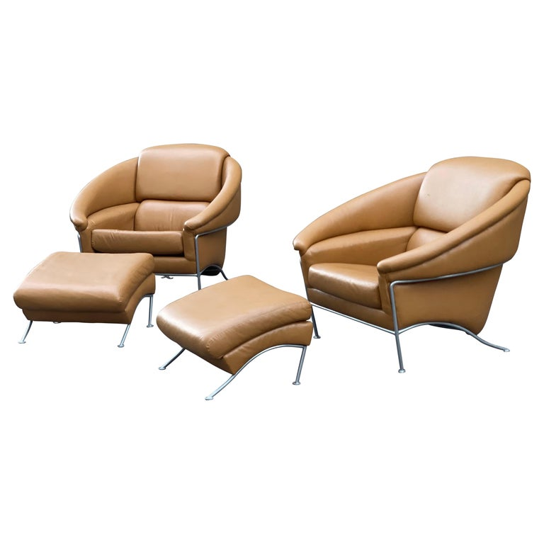 Pair of Milo Baughman Boldido Lounge Chairs and Ottomans for Thayer Coggin For Sale