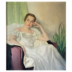 Large Art Deco Period Portrait Painting of an Elegant Young Woman, 1937