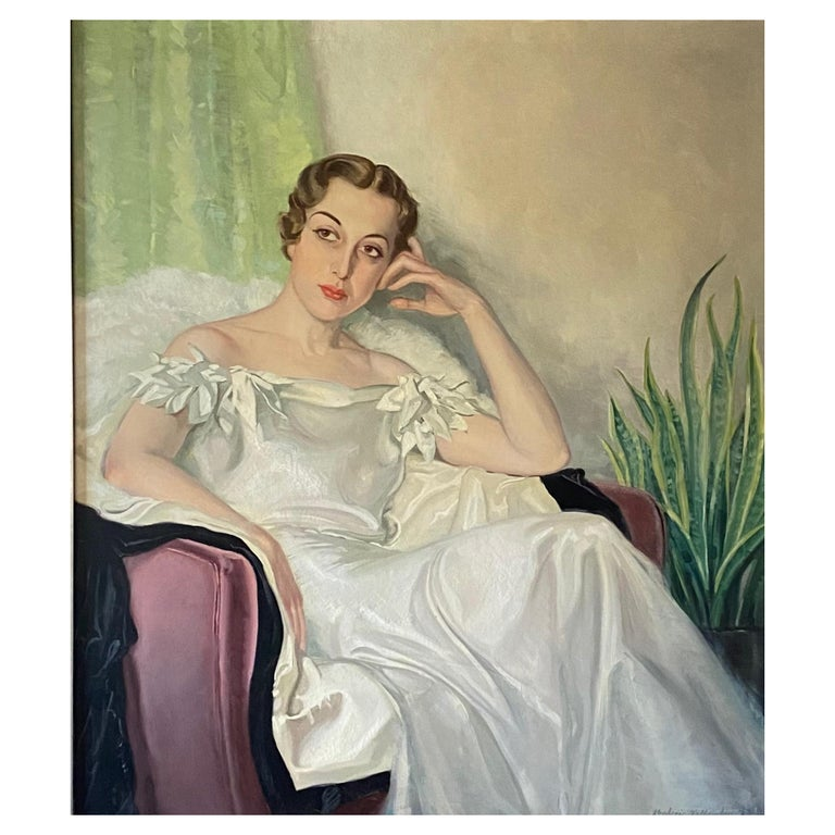 Large Art Deco Period Portrait Painting of an Elegant Young Woman, 1937 For Sale