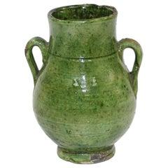 Moroccan Tribal Green Glazed Terracotta Ceramic Jar