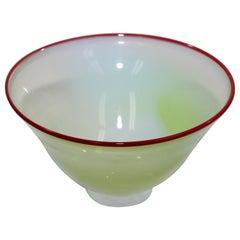 Murano Venetian Art Glass Jade Footed Bowl