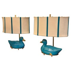 Pair of Turquoise Bronze Table Lamps in the Shape of a Duck with Our Lampshades