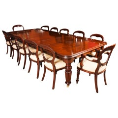 Antique Mahogany Dining Conference Table 19th Century & 12 Chairs