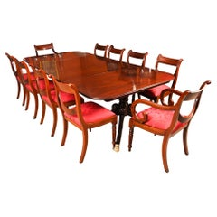Antique Twin Pillar Regency Dining Table 19th C & 10 Regency Swag Back Chairs