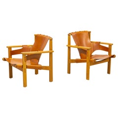 Lounge Chairs in Oak and Leather by Carl-Axel Acking, Nk, Nordiska Kompaniet